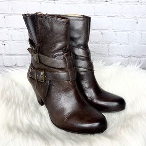 Arturo Chiang Leather Zip Buckle Ankle Heel Boots